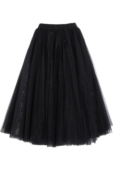 带亮片绢网超长半身裙