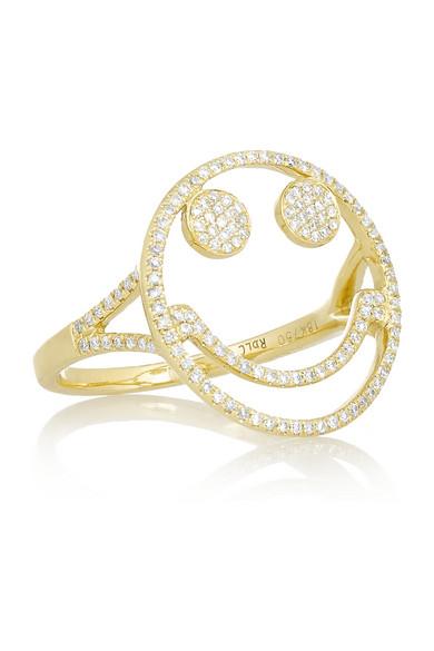 + Rosa de la Cruz 18-karat 黄金钻石戒指