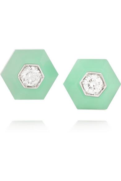 Collection 18K 白金、绿玉髓、钻石耳钉