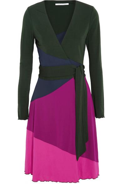 Marsha 拼色针织绉纱裹身连衣裙