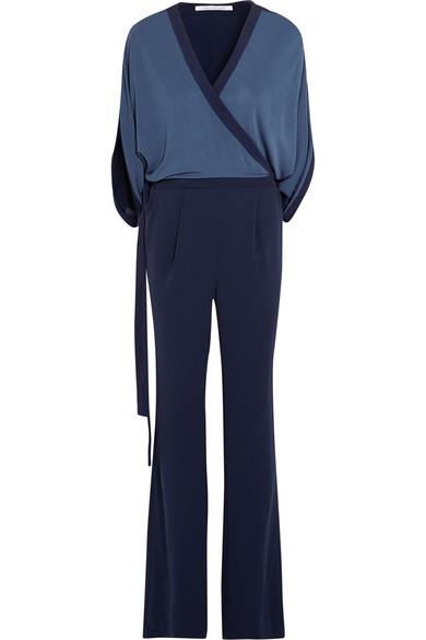 Linnie 双色针织绉纱裹身连身裤