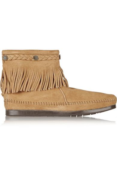 + Minnetonka 缀饰流苏绒面革及踝靴