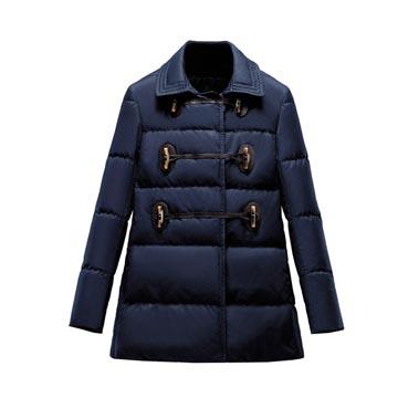 Moncler 藏蓝色尼龙中长外套