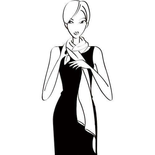 尝试这种系法,可以直接购买长条形丝巾或用90cm长宽