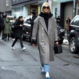 秋冬的时髦与质感 一件灰色大衣就够了