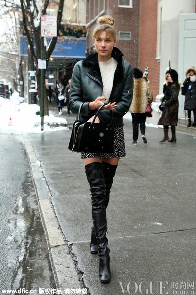 美丽不冻人,明星冬日出街最爱及膝高筒靴