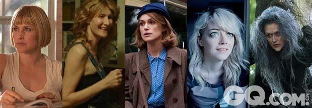 帕特丽夏·阿奎特(《少年时代》) 劳拉·邓恩(《涉足荒野》) 凯拉·奈特莉(《模仿游戏》) 艾玛·斯通(《鸟人》) 梅丽尔·斯特里普(《魔法黑森林》)