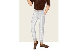 每日穿搭 有腔调的格纹西裤
