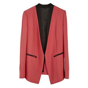 MO&Co摩安珂女士秋季女装拼接长袖粉红色西装外套